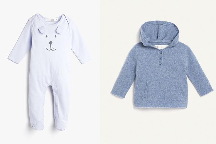 Pelele jersey bordado (12,99 €) y jersey cashmere con capucha (39,99 €).