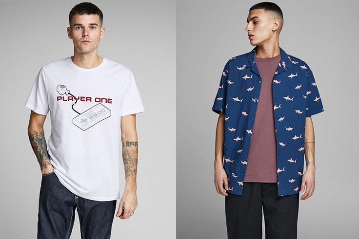 Camiseta con estampado Jack&Jones (12,45€) y camisa con estampado animal Jack&Jones (17,95€).