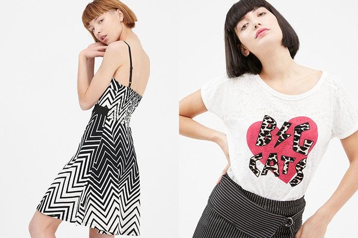 Vestido tirantes estampado geométrico Inside (19,99 €) y camiseta Big Cats (8,99 €).