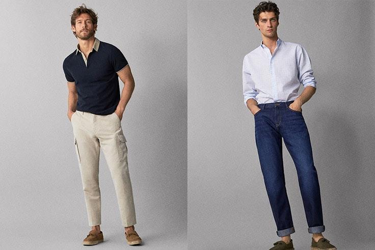 Polo algodón camisero Massimo Dutti (19,95€) y pantalón algodón lino Massimo Dutti (29,95€).