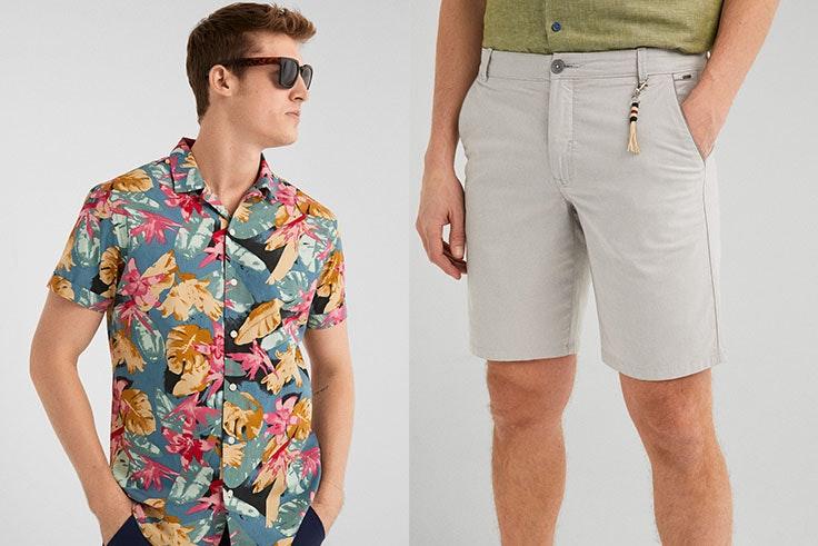 Camisa estampada Springfield (19,99€) y bermuda bicolor (25,99€).