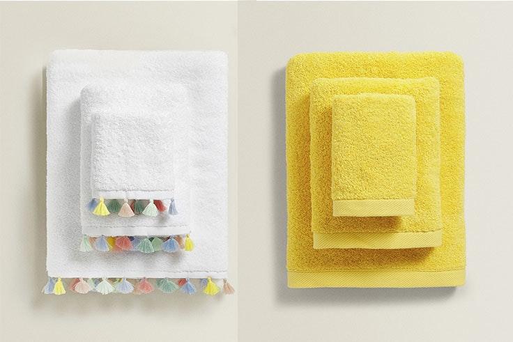 Toalla algodón pompones (3,99 € -19,99 €) y toalla algodón orgánico (2,99 € - 15,99 €).
