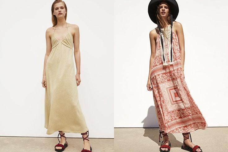 Vestido rústico Zara (15,99 €) y vestido combinado estampado (19,99 €).