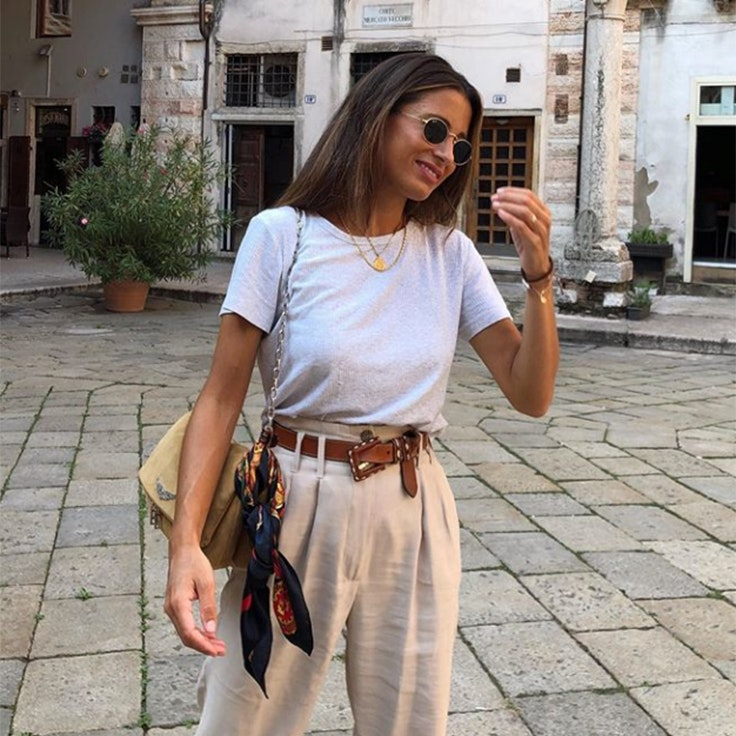 maria valdes pantalon largo lino beige
