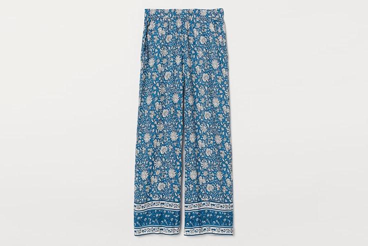 pantalón largo estampado azul hm