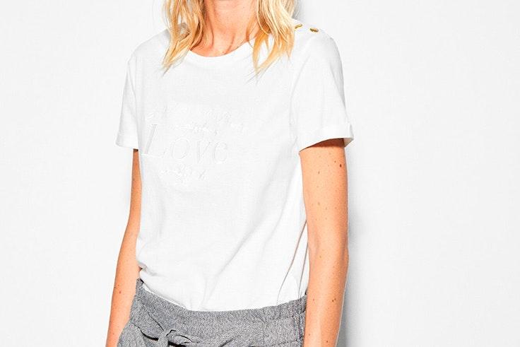 camiseta blanca manga corta cortefiel