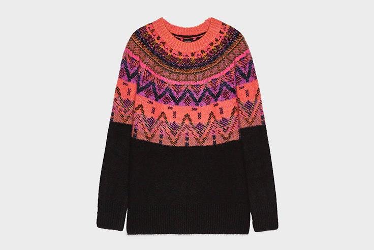 jersey de colores rombos rosa y negro bershka