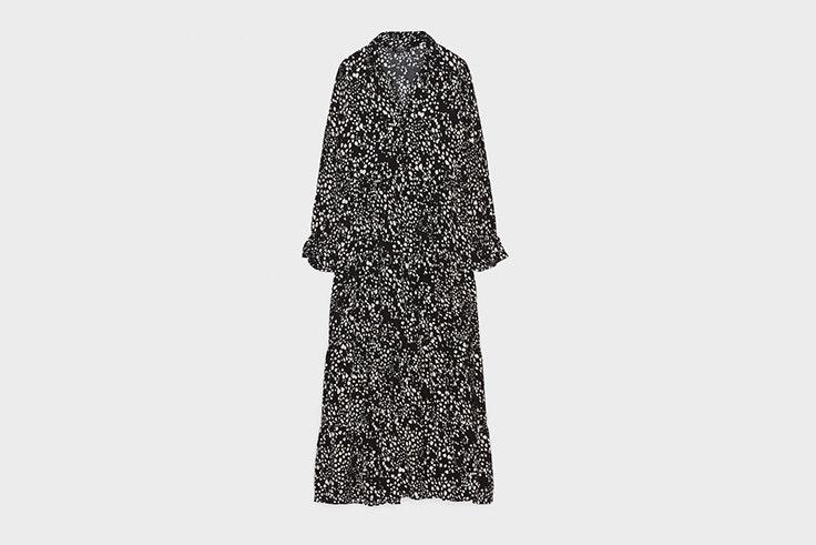 vestidos negros estampado de bershka