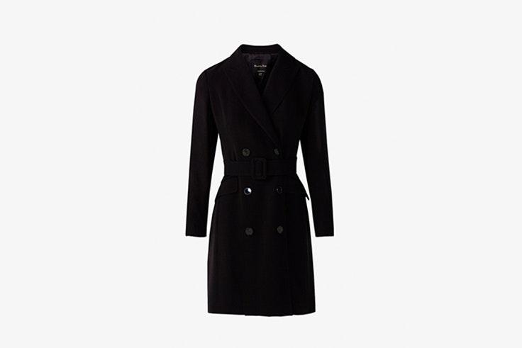vestidos negros tipo blazer con cinturon de massimo dutti