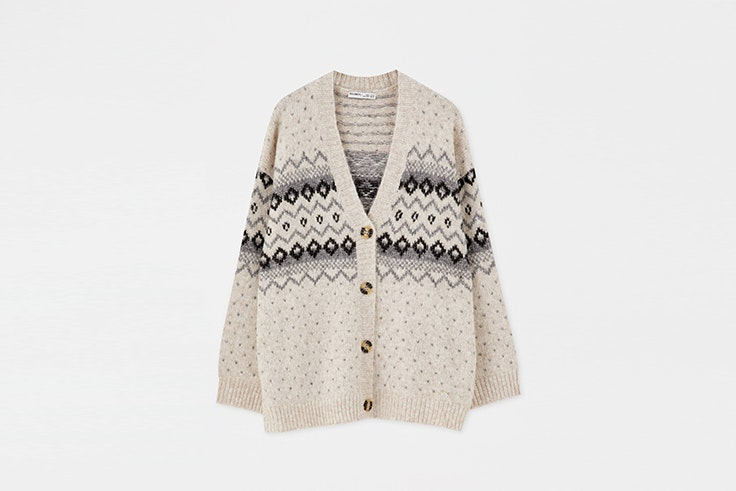 cardigan jacquard estampado pull and bear