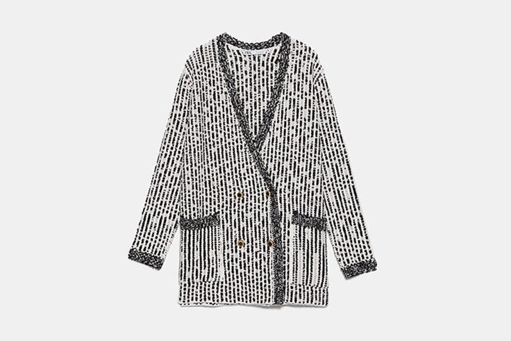 chaqueta de punto estructurada blanco y negro zara