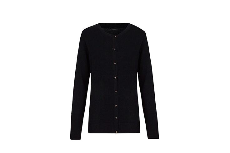 chaqueta de punto negra con botones y escote redondo de cortefiel cárdigan