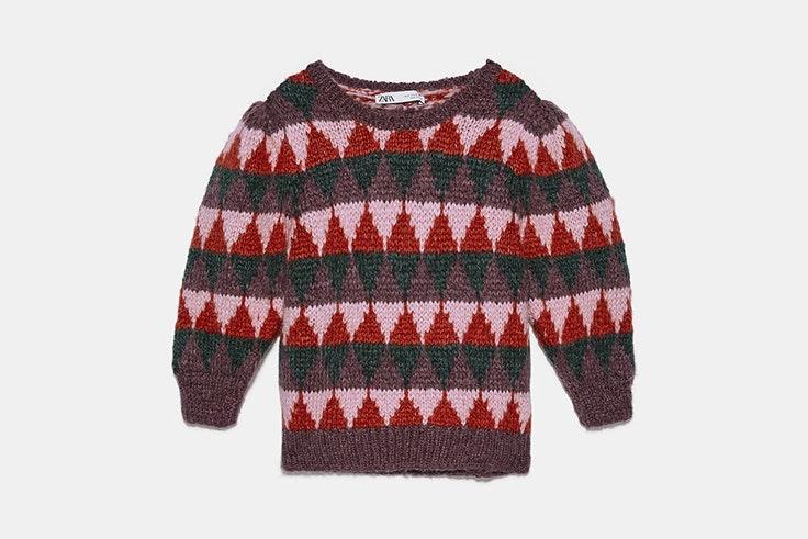 Jersey de rombos de colores y mangas abullonadas de Zara jerséis de jacquard