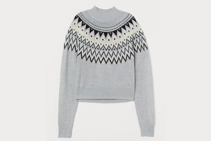Jersey de punto de jacquard en gris claro de H&M