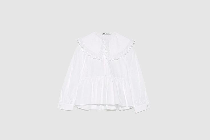 blusa de popelin con cuello bobo blanca de Zara tendencias 2020