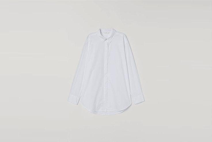 camisa blanca oversize de algodón de hym Tina Rodríguez