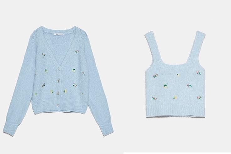Conjunto de chaqueta y top de punto en color azul con flores bordadas de Zara