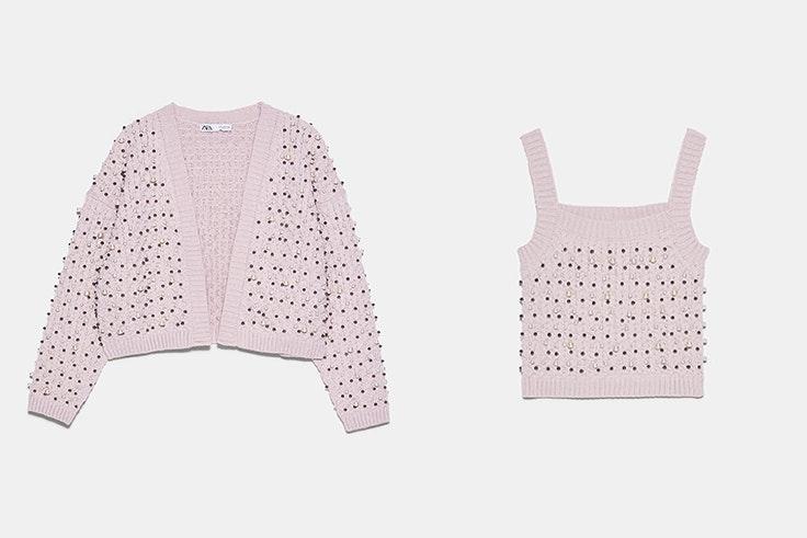 Conjunto de chaqueta y top de punto en color lila con perlas de Zara