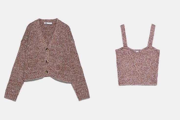 Conjunto de chaqueta y top de punto en color marrón claro de Zara