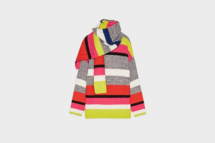 jersey con bufanda multicolor de bershka prendas para el frío