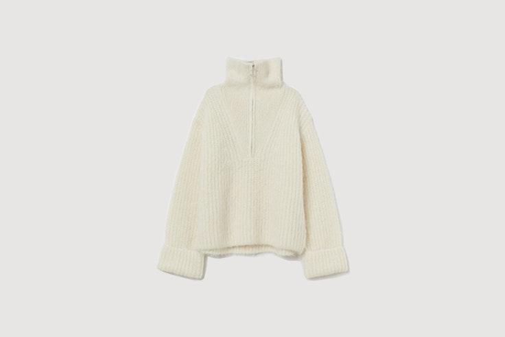 jersey grueso de lana con cremallera de hym looks de oficina