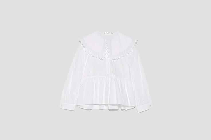 blusa de popelin con cuello bobo de zara blusas románticas