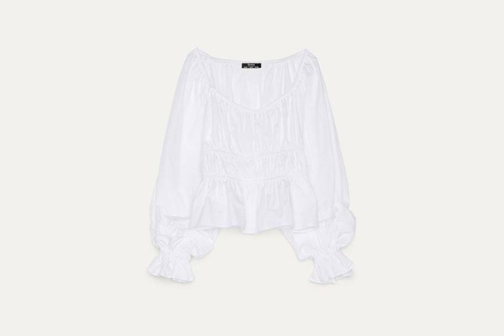 blusa de popelin con fruncidos con bershka blusas románticas