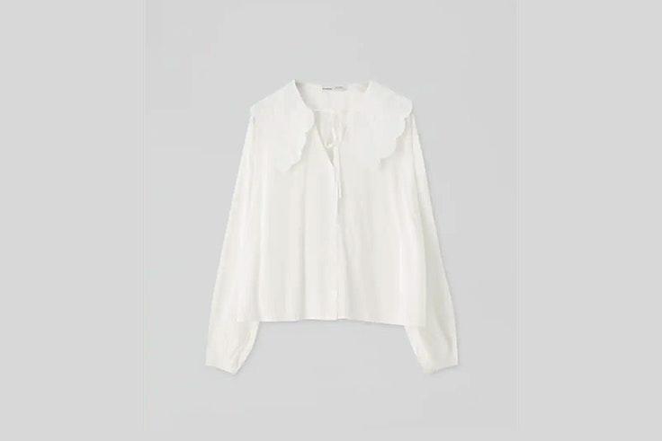 camisa blanca con cuello bobo de pull and bear blusas románticas