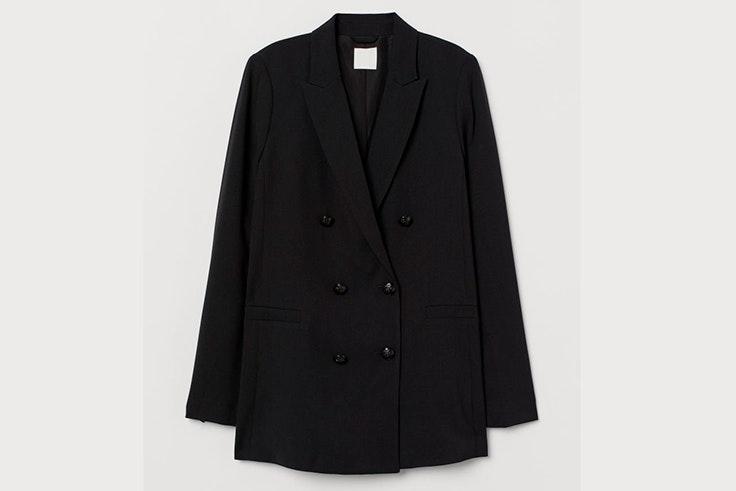 Chaqueta americana de doble en color negro botonadura de H&M