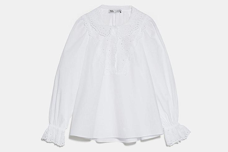 Camisa de cuello bobo y manga larga  zara