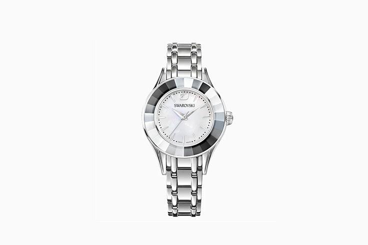 reloj brazalete de plata y acero inoxidable d swarovski Sandra Rodrigues