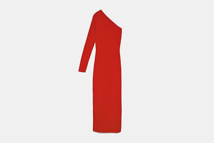 vestido largo asimetrico rojo de zara looks de fiesta