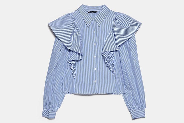 Camisa de rayas con volantes de Zara