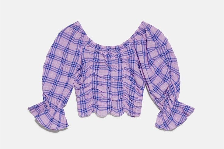 Blusa de cuadros lila y azul de Zara