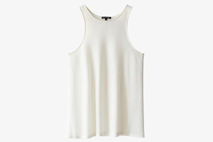Top de punto en color blanco con tirantes de Massimo Dutti
