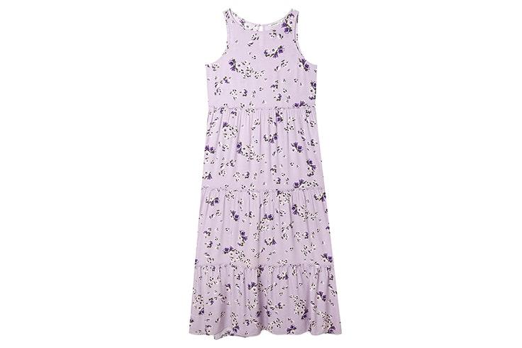 Vestido de tirantes con estampado de flores en color lila stradivarius