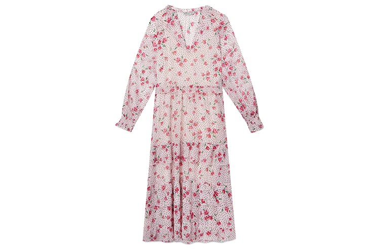 Vestido midi en color lila con estampado floral stradivarius