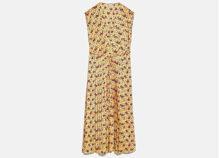 Vestido midi amarillo de Zara vestidos de flores