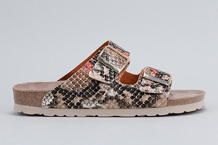 Sandalias planas con textura de cocodrilo de Krack