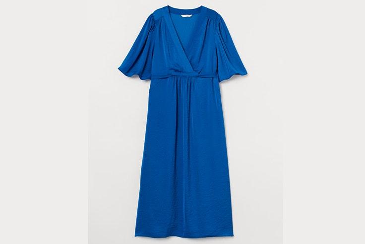 Vestido azul eléctrico satinado de H&M