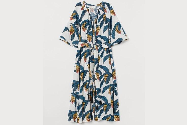 Vestido de lino con estampado natural de H&M