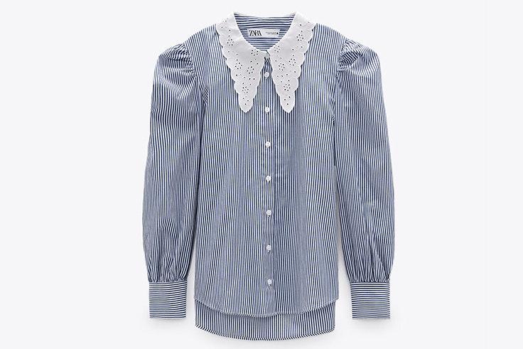 Camisa de rayas con cuello bobo de Zara