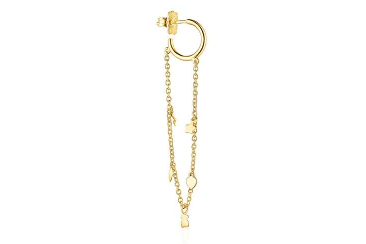 Pendiente dorado con cadena de Tous accesorios de otoño
