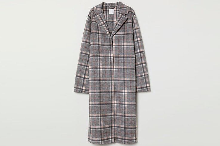 Abrigo de cuadros en color gris de H&M