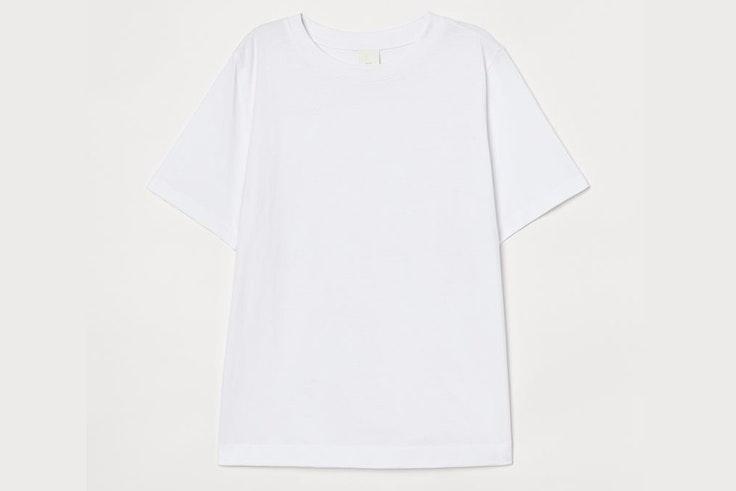 Camiseta blanca de manga corta de H&M lucía bárcena