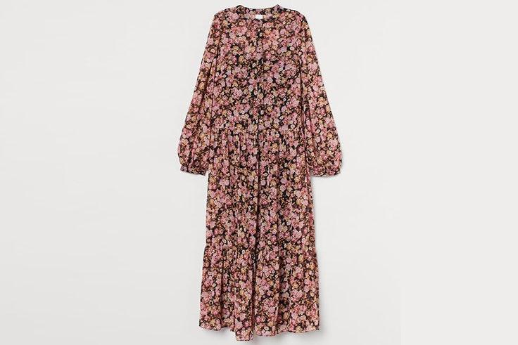 Vestido largo con estampado de flores de H&M