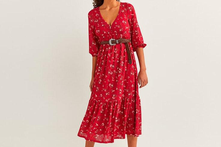 Vestido de flores en color rojo de Springfield