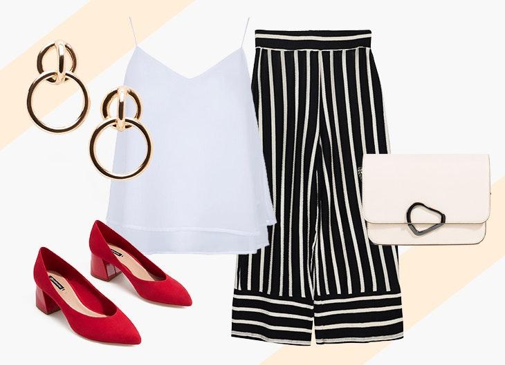 2 | Lady like | O padrão formal das calças contrasta com o seu formato, mais moderno pelo comprimento. O top é um elemento sóbrio, que ganha pela delicadeza das alças. A carteira branca é pequena e prática, brilhando nela o fecho inesperado. Os sapatos são a estrela do look e conferem um toque irreverente. Os brincos, elegantes e simples, dão o toque final.