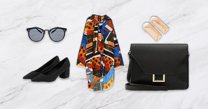 TRIBAL CHIC | A peça-chave do look é o vestido, com um padrão étnico colorido. Os restantes elementos, sempre em preto e dourado, embelezam-no e tornam-no mais sofisticado.