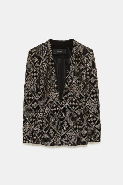 Casaco Tweed Lantejoulas Zara